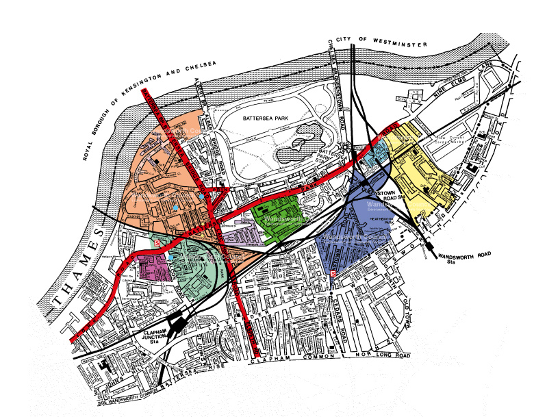 Map of Battersea Controlled Parking Zone